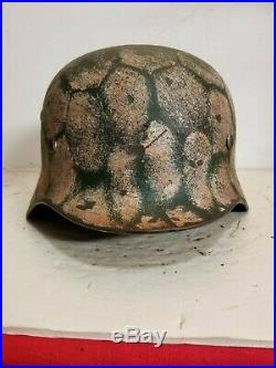 WWII German M35 Winter Camo Helmet withWire Pattern