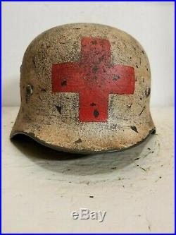 WWII German M35 Winter Camo Medic Helmet