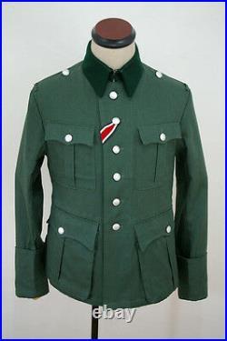 WWII German M36 officer summer HBT reed green field tunic XL