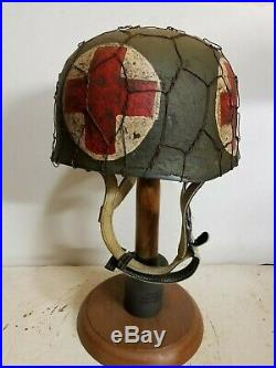 WWII German M38 Fallschirmjager Chickenwire Medic Paratrooper Helmet