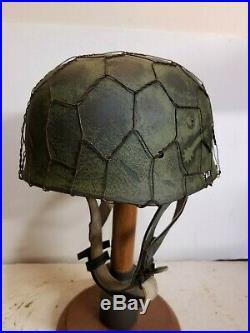WWII German M38 Fallschirmjager Chickenwire Sturm Regiment Paratrooper Helmet