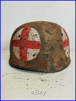 WWII German M38 Fallschirmjager Medic Afrikakorp Paratrooper Helmet