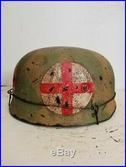 WWII German M38 Fallschirmjager Medic Normandy Paratrooper Helmet