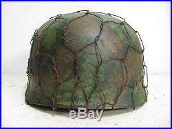 WWII German M38 Fallschirmjager Normandy Chickenwire Paratrooper Helmet