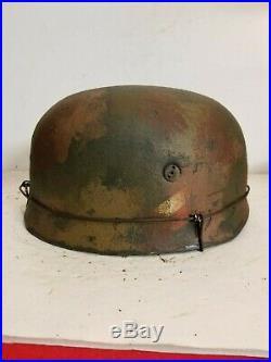 WWII German M38 Fallschirmjager aged camo Paratrooper Helmet