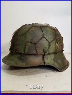 WWII German M42 Chicken wire Half basket Summer Camo Helmet