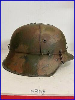WWII German M42 Normandy 3 Wire Camo Helmet