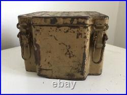 WWII German Metal Box Zundmittel f. Je9. S. Mi. 35 / 6 1/2 Sq X 4 5/8 H