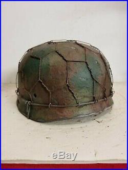 WWII German RARE M37 Fallschirmjager Chickenwire Paratrooper Helmet