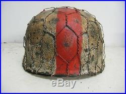 WWII German RARE M37 Fallschirmjager Medic Chickenwire Paratrooper Helmet