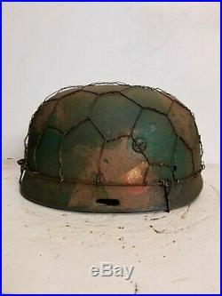 WWII German RARE M37 Fallschirmjager Normandy Chickenwire Paratrooper Helmet