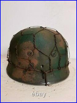 WWII German RARE M37 Fallschirmjager Normandy Chickenwire Paratrooper Helmet