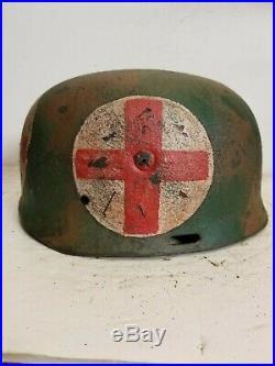 WWII German RARE M37 Fallschirmjager Normandy Medic Paratrooper Helmet