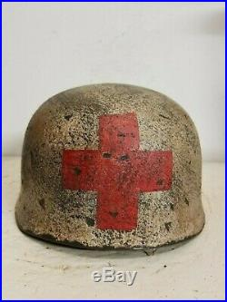 WWII German RARE M37 Fallschirmjager Winter Medic Paratrooper Helmet