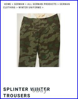 WWII German Winter SPLINTER CAMO Trousers by At The Front Militaria size 3 NEW