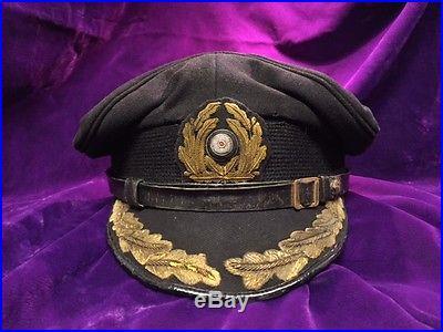 Wwii Ww2 German U Boat Kriegsmarine Captain Visor Hat Cap