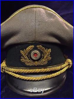 Wwii Ww2 German Wh General Army Visor Hat Cap