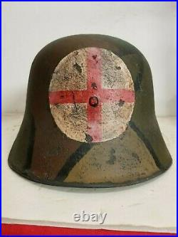 WWI German M18 LARGE Cut out Medic Helmet w Leather liner-quick release strap