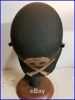 WWI German M18 LARGE Skull Cut out Helmet w Leather liner-quick release strap