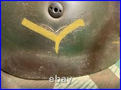 WW II German fallschirmjager skydiver M38 steel helmet, Normandy, ET71