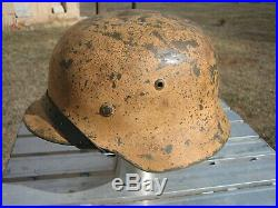 W. W. 2 M 35 Size 68 Dome Stamp Tan Color German Helmet With Repro Liner Size 6