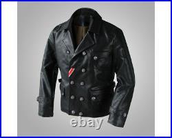 World War 2 WW2 Germany Air Force Luftwaffe Black PU Leather Jacket Eagle Button