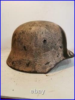 World War II Finnish Army Winter Camo Painted Aged repro Helmet