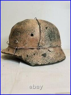 World War II German M35 Aged Winter 3 Wire Camo Painted Helmet