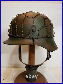 World War II German M35 Camo Painted Aged Chickenwire Helmet