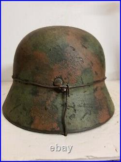 World War II German M35 Camo Painted Aged Helmet