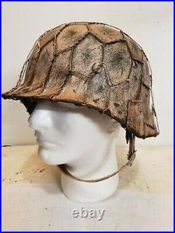 World War II German M35 Camo Painted Aged Winter Chickenwire Helmet