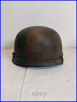 World War II German M38 Fallschirmjager Normandy Camo Painted Aged Helmet