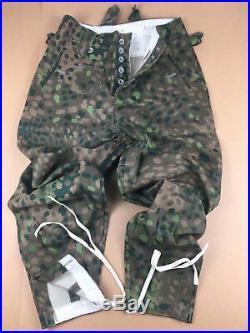Ww2 German Elite Dot44 Peas Camo Linen M43 Field Coat Tunic & Trousers Set, XL