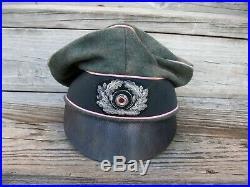 Ww2 German Heer Panzer Officer Crusher Cap Wool Made. (nice Repro)