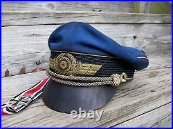 Ww2 German Luftwaffe General Crusher Cap (superb Aged Replica) Full Set