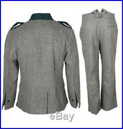 Ww2 German M36 Em Gray Green Wool Field Retro Tunic & Trousers, Size XXXL
