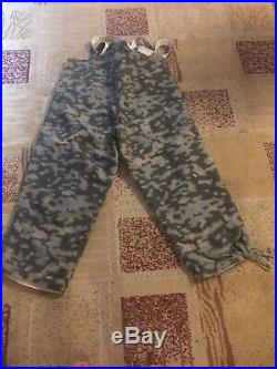 Ww2 German Padded Reproduction Blured Edge Camo Winter Pants Xl Vg Condition
