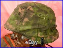 Wwii German Helmet (m40) (blurred Edge Camo Cover) (from A. T. F.) Very Nice