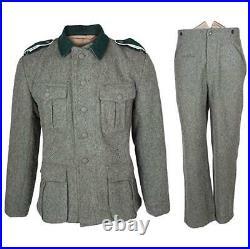 Wwii German M36 Em Gray Green Wool Field Retro Tunic & Trousers, Size S