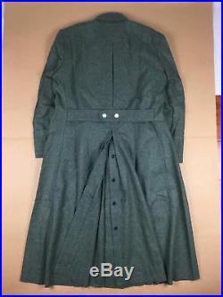 Wwii German Officer M40 Field Grey Green Wool Greatcoat Coat, Size XL