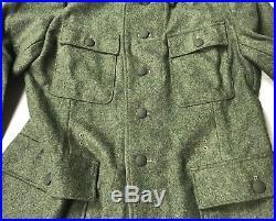 Wwii German Waffen M1943 M43 Wool Combat Field Tunic-large